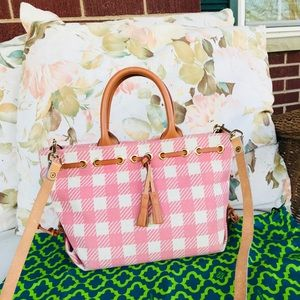Dooney & Bourke Light Pink Plaid Tassel HandBag
